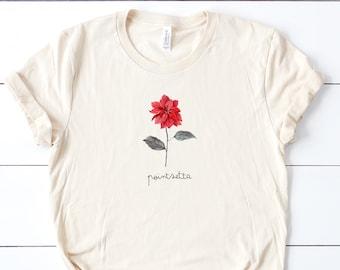 Poinsettia Botanical Inspired Soft Unisex (for Women) Bella Graphic Tees
