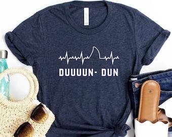 Duuun Dun Shark Fin Heartbeat Pulse Sharks Love Soft Unisex Adult Tee