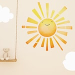 Watercolor Sunshine Sun Adhesive Removable Fabric or Vinyl Wall Decal Sticker | Home, Children's & Nursery Room Decor
