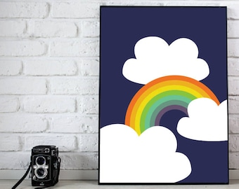 Happy Bright Bold Rainbow and Clouds Print on Navy Color Print - Digital Instant Download - Customizable - Just ask!