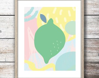 Pastel Lime Fruit Minimalist Modern Bright Yellow, Mint, Pink, and Blue Color Print - Digital Instant Download - Customizable - Just ask!