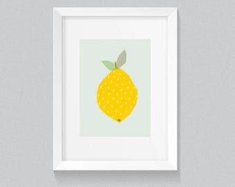 Geometric Simple Mid Century Modern Bright Yellow Lemon Polkadots Kawaii Cute Modern Trendy Print - Digital Instant Download