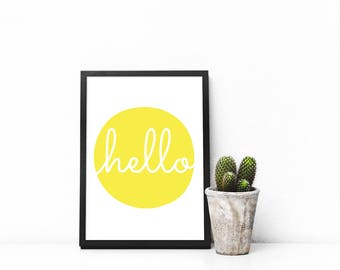 Hello Yellow Bright Dot Kawaii Cute Modern Trendy Print Great for Baby's Nursery, Home, Kitchen, Playroom - Digital Instant Download