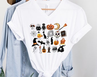 It's the Little Things   Happy Halloween   UNISEX V-Neck T-Shirt