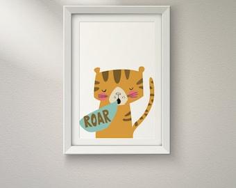 Roar Tiger Born to Be Wild Jungle African Safari Animal Print - Digital Instant Download