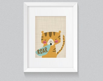Roar Tiger Born to Be Wild Vintage Jungle African Safari Animal Print - Digital Instant Download