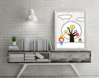 Bold Baby Playroom Nursery Rainbow Rain, Umbrella, Clouds, Tree and House Kawaii Mid Century Modern Print - Digital Instant Download