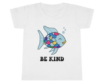 Be Kind Rainbow Scale Fish Reading Book Nostalgia Parody Soft Short-Sleeve Unisex Toddler T-Shirt