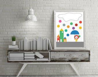 Bold Baby Playroom Nursery Rainbow Rain, Umbrella, Clouds, City Skyline and House Kawaii Cute Modern Trendy Print - Digital Instant Download