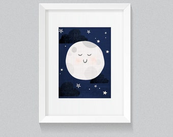 Baby I Love You To The Moon And Back Navy and Blue Soft and Cute Nursery Art Illustration Print - Digital Instant Download