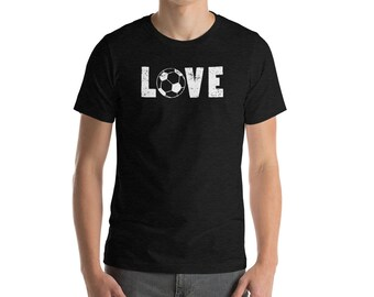I Love Soccer Word Art Soccer Ball Funny Sports Tee Short-Sleeve Unisex T-Shirt