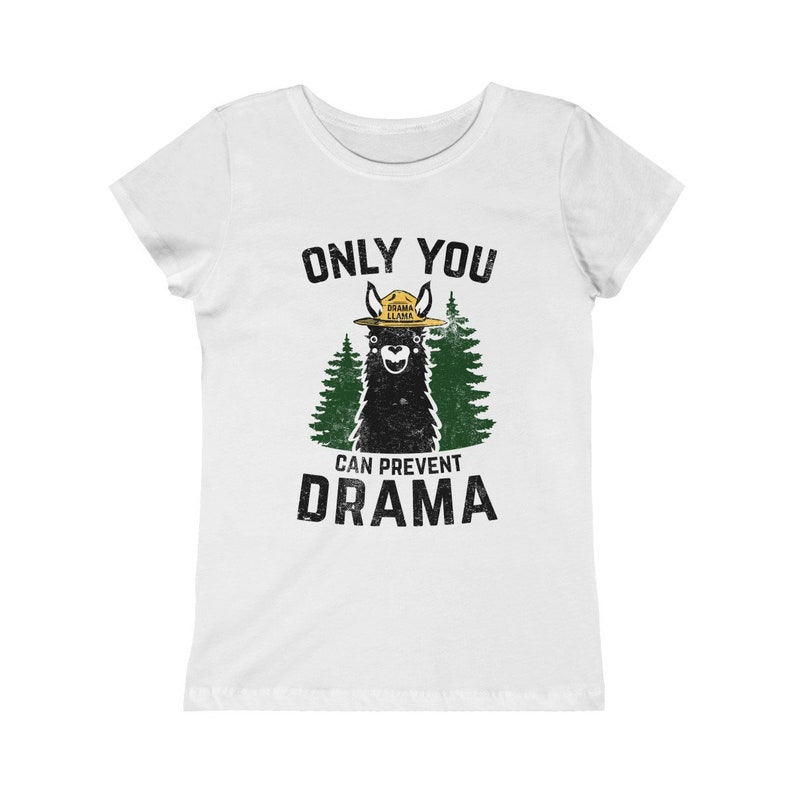 Girls Princess Tee  Only You Can Prevent Drama Llama Smokey image 0