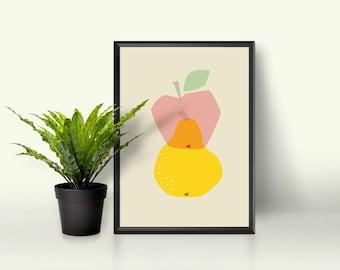 Geometric Simple Mid Century Modern Bright Yellow Pear and Apple Transparent Kawaii Cute Modern Trendy Print - Digital Instant Download