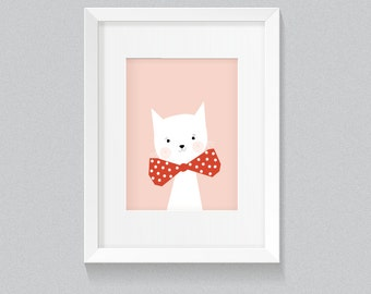 Adorable Cute White Cat Kitten Kitty Animal with Background Print - Digital Instant Download