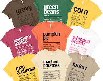 Thanksgiving Nutritional Facts Holiday Fun Costume Halloween & Thanksgiving Cozy Soft Tees   Unisex Bella Fit