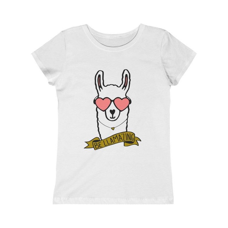 Girls Princess Tee  Be Llamazing amazing Llama Heart image 0