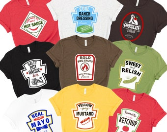Condiment Costume Soft Unisex Tees Ketchup, Mustard, Mayo, Hot Sauce, Relish, Ranch, Soy, Halloween, Party