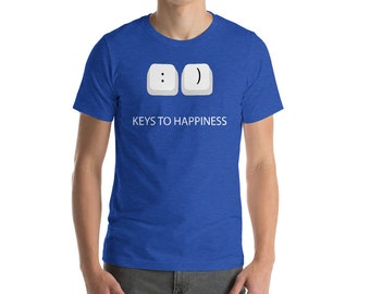 Keys to Happiness Funny Texting Emoji Emoticon Graphic Tee Pun Short-Sleeve Unisex T-Shirt