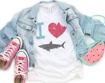 TODDLER   I Love Sharks Heart Bite   UNISEX Relaxed Jersey T-shirt for Toddlers