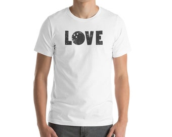 I Love Bowling Bowlers Fun Word Art Graphic Tee Short-Sleeve Unisex T-Shirt
