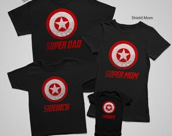 Matching Family Shirts Set | Super Hero Shield | Family Reunion | Vacation | Father's Day | Mother's Day | Birthday