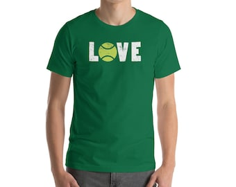 I Love Tennis Word Art Ball Graphic Tee Short-Sleeve Unisex T-Shirt