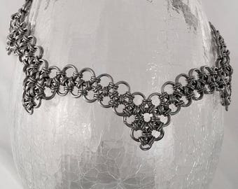 Stainless steel scalloped Japanese weave chainmail necklace