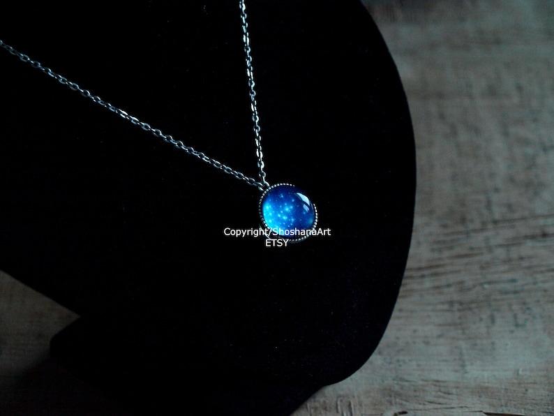 Navy blue galaxy necklace Globe necklace,space necklace Star night  pendant glass dome necklace gift Stars necklace Night sky necklace