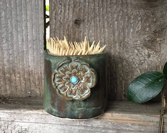 Toothpick Holder, Sugar packets Holder, Sweetener Holder, Ceramic Splenda packets holder, Q Tip Holder, Handmade Pottery toothpick holder