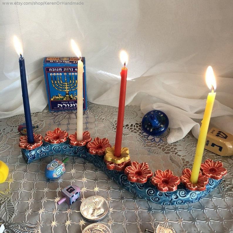 Menorah Hanukkah Menora Flowers Candle