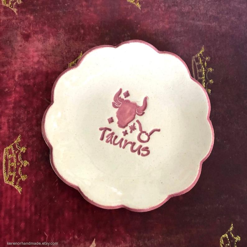 horoscope ceramic dish Ceramic Taurus dish April May birthday gift Taurus decor astrology gift Taurus gift Zodiac sign ceramic dish