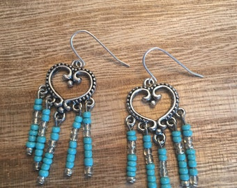 Silver and Turquoise beaded boho earrings