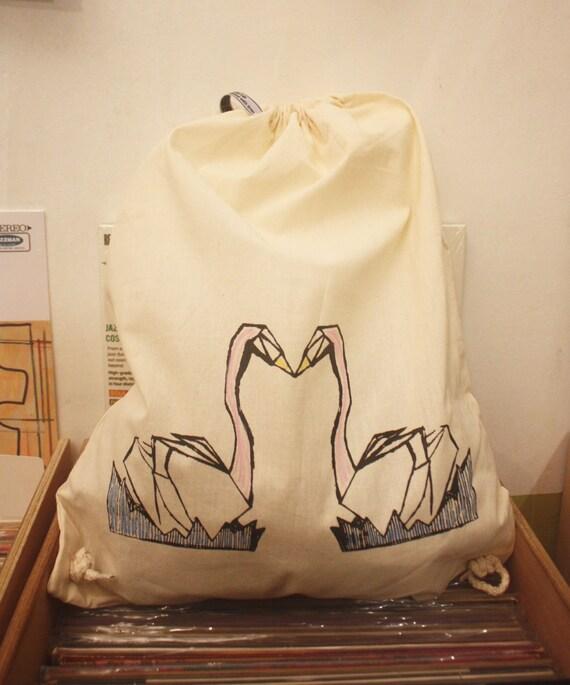 En Sac CygnesEtsy Coton Bag Dos Tote Les Pochon À WD2EI9H