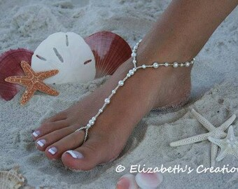 ed9594f76172 Barefoot Sandal - Simply Elegant White Pearls and Silver Beads Destination  Wedding