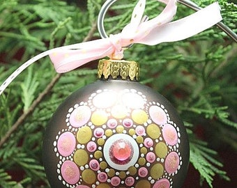 Hand Painted Mandala Christmas Ornament With Rhinestones, Christmas Glass Ornament,  Mandala Christmas Ornament, Gift exchange, Mandala Art