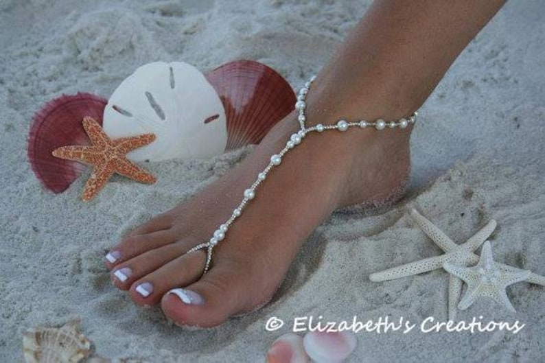 Barefoot Sandal  Simply Elegant  White Pearls and Silver image 0