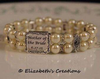 Elegant White Pearl Photo Picture Bracelet, Bridal Wedding Memory Keepsake, Mother of the Bride, Photo Bracelet for Mom
