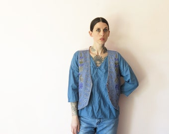 1980s vintage vest// revived and dyed embroidered hippie love vest// small medium