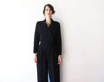 80s vintage jumpsuit pantsuit romper// black tuxedo styles tailored excellence// small medium