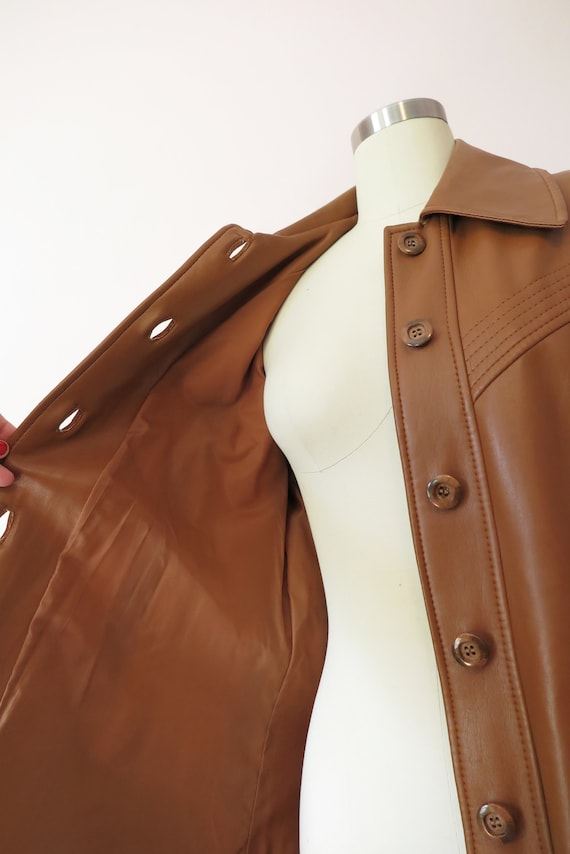 1970s VTG Jacket- Tan Leather Faux Leather Trench… - image 10
