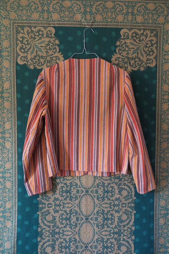 1960s VTG Top- Long Sleeve Seersucker Orange Tone… - image 6