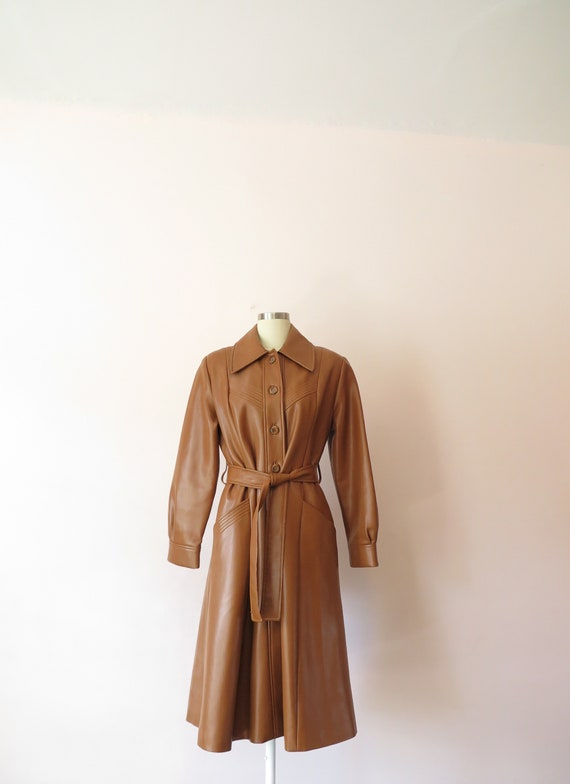 1970s VTG Jacket- Tan Leather Faux Leather Trench… - image 5