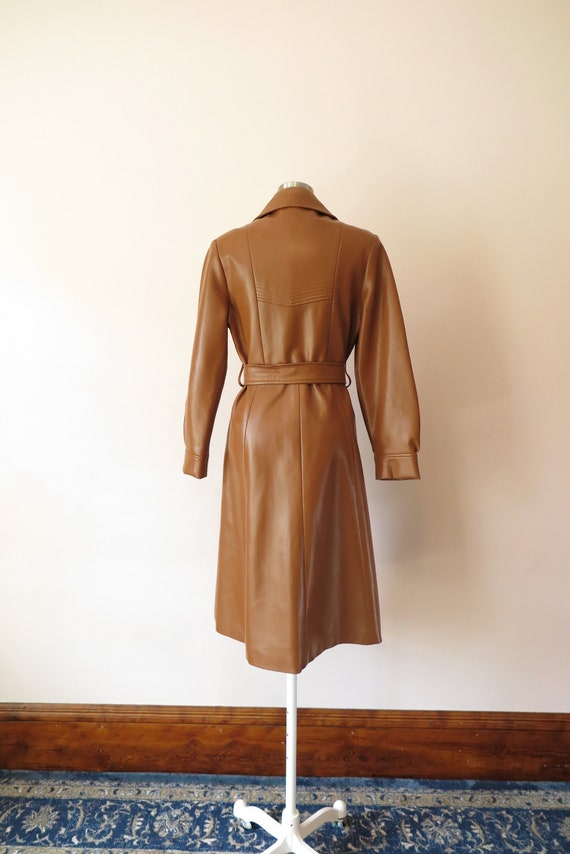 1970s VTG Jacket- Tan Leather Faux Leather Trench… - image 8