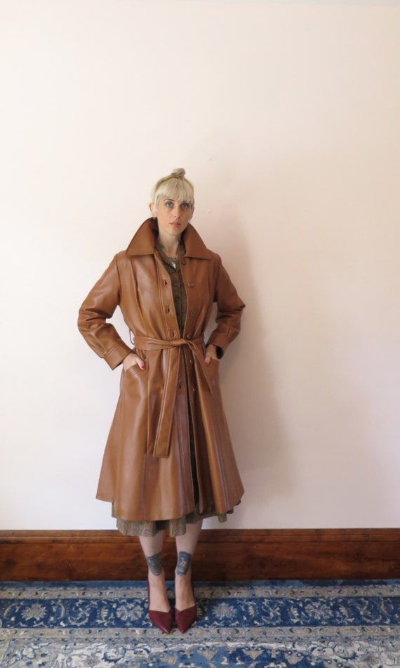 1970s VTG Jacket- Tan Leather Faux Leather Trench… - image 2