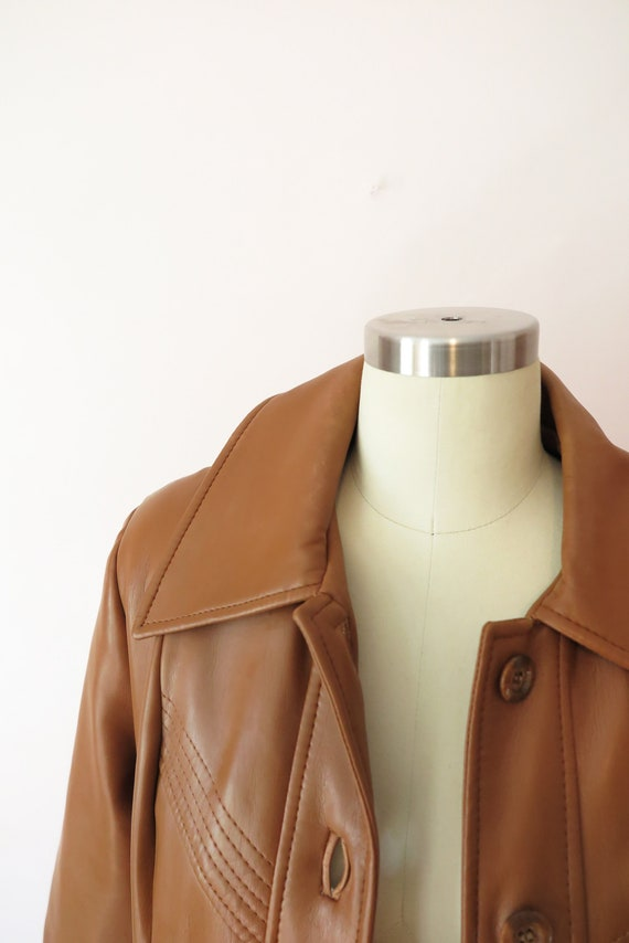 1970s VTG Jacket- Tan Leather Faux Leather Trench… - image 3