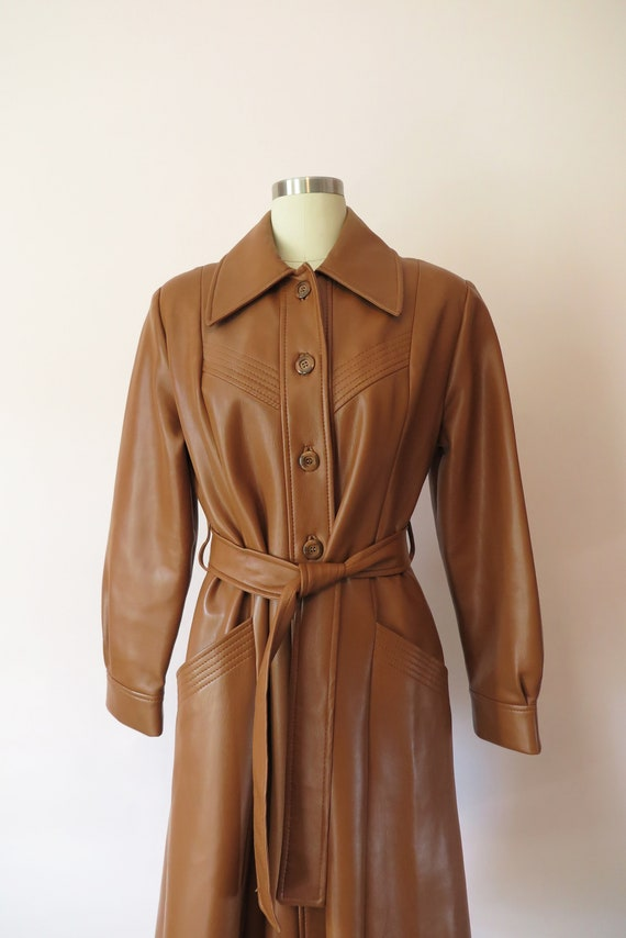 1970s VTG Jacket- Tan Leather Faux Leather Trench… - image 6