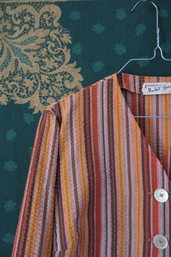 1960s VTG Top- Long Sleeve Seersucker Orange Tone… - image 5