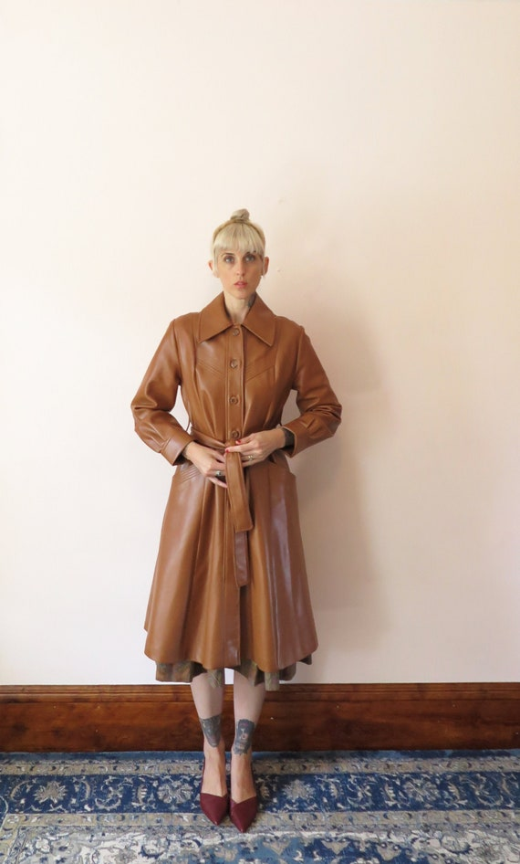 1970s VTG Jacket- Tan Leather Faux Leather Trench