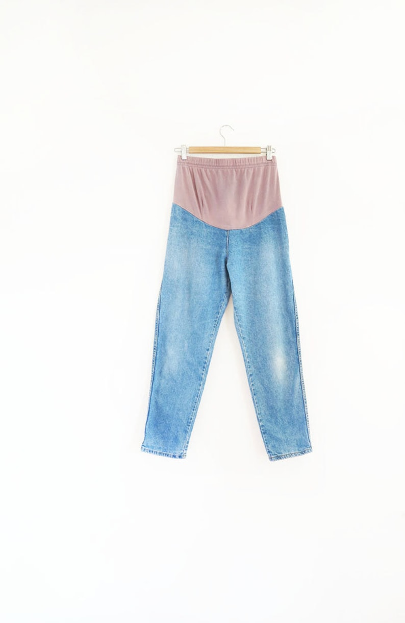 0081e5cba 90s vintage maternity mama jeans   over the belly cotton blue