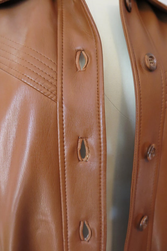 1970s VTG Jacket- Tan Leather Faux Leather Trench… - image 4